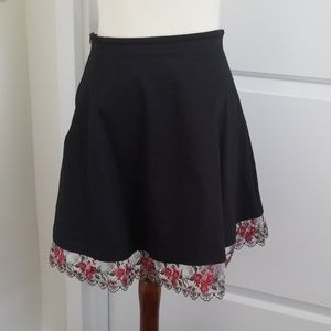 A-line Black Skirt with Rose Lace Trim
